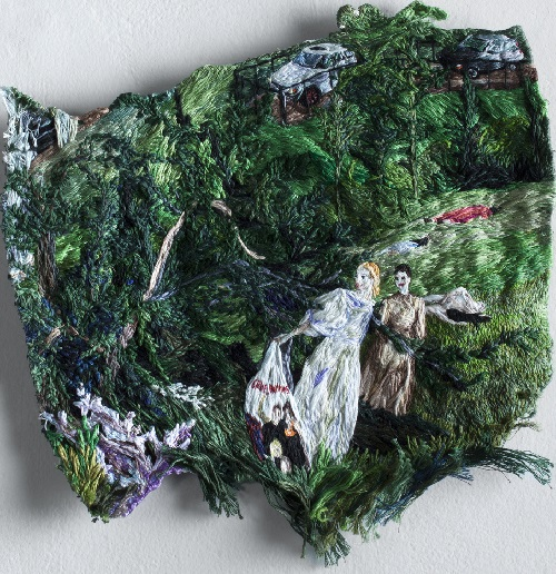 Embroidered paintings by Sophia Narrett