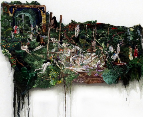 Embroidered painting by Peruvian artist Sophia Narrett