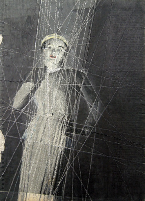 Embroidery on paper by Dutch artist Hinke Schreuders