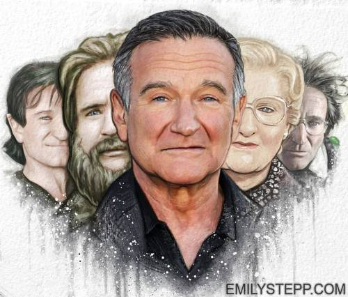Robin Williams in pencil drawing by Emily Stepp
