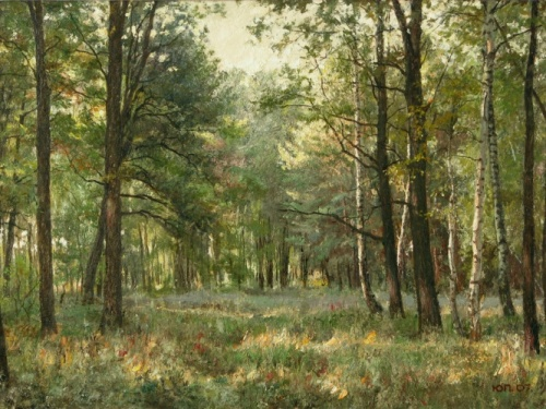 Evening in the forest. 2007. Painting by Yuri Pantsyrev