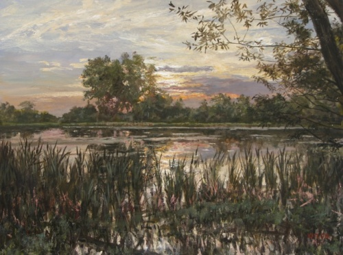 Evening silence. Pond in Kameshkovo. Painting by Yuri Pantsyrev