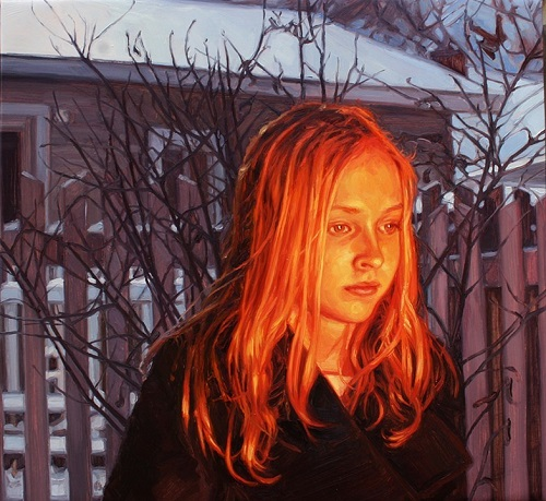 Face Lit By Fire. 2011. oil on canvas. Hyperrealistic painting by Laura Sanders