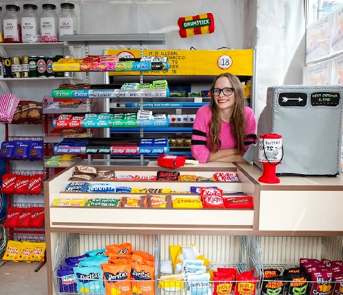 Store where everything is made completely out of FELT. Felt Cornershop installation by British textiles artist Lucy Sparrow