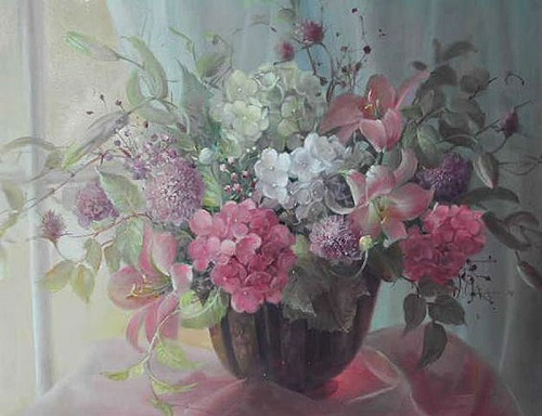 Floral painting by Australian artist Jill Kirstein