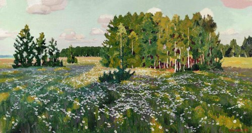 Flowery meadow. 1916. Russian painter Arkady Rylov