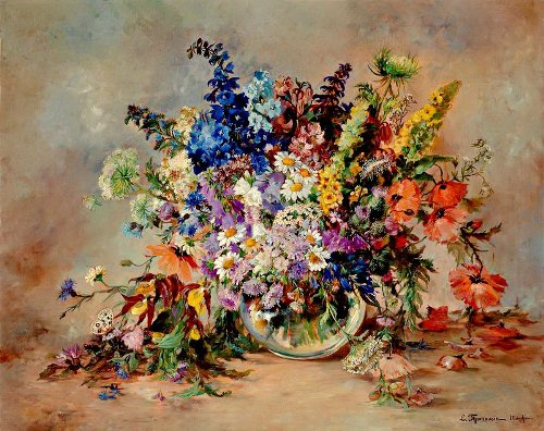 French artist Louis Thomassin (Flower paintings)