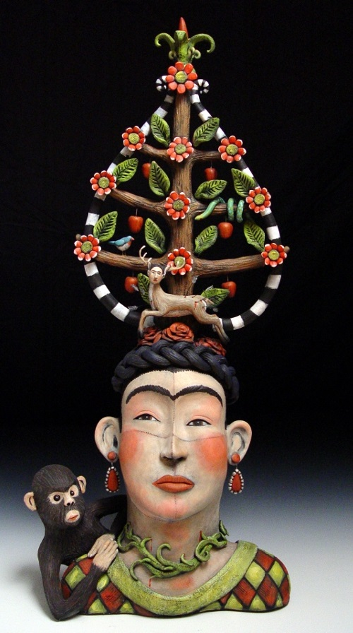 Frida and the Tree of LIfe. Clay Sculpture by American artist Victoria Sexton
