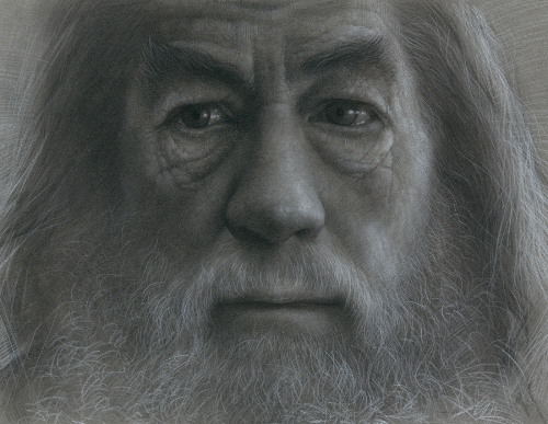 Gandalf Charcoal Drawing by South Korean artist JW-Jeong