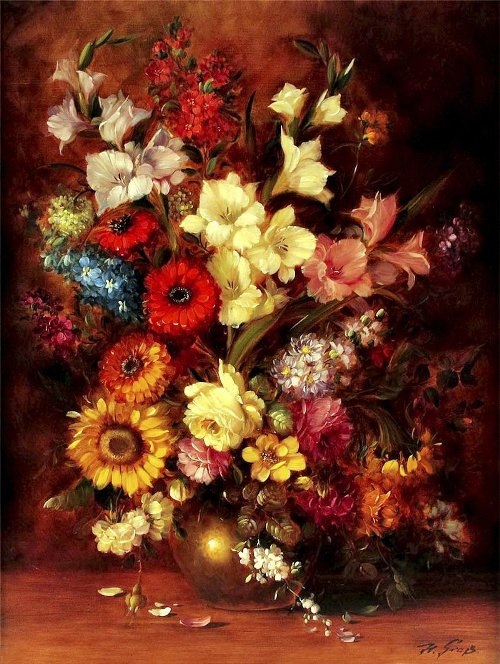 German artist Hans Grass (Flower paintings)