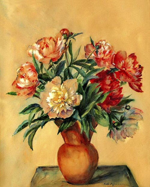 German painter Grete Hoffmann Flower paintings