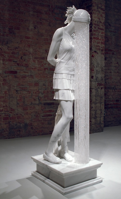 Ghost Girl. 2007. Carrara Marble, Glass Crystal Beads. Sculpture by Kevin Francis Gray