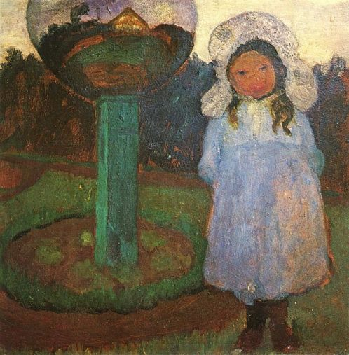 Girl in the garden with a glass ball (Elsbeth). Approx. 1901-1902. Private collection. German expressionist painter Paula Modersohn-Becker