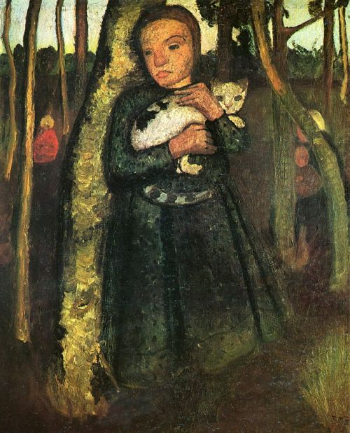 Girl with a cat in the birch forest. 1904-1905. Painting by German expressionist painter Paula Modersohn-Becker