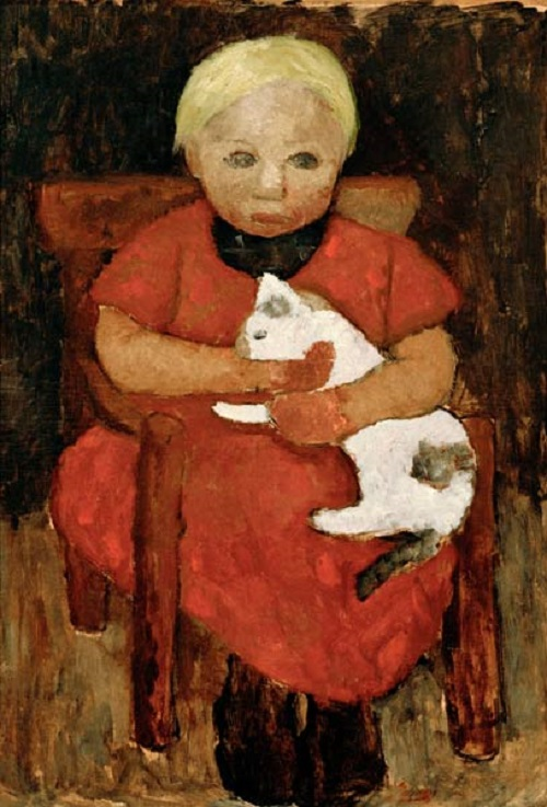 Girl with a cat, 1905. Painting by German artist Paula Modersohn-Becker
