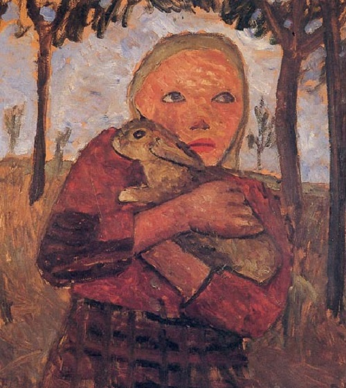 Girl with rabbit, 1905. German expressionist painter Paula Modersohn-Beckerr