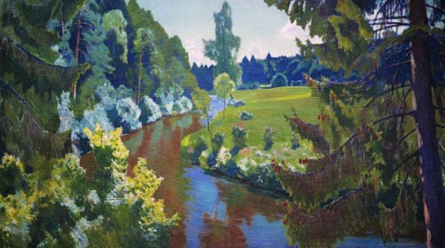Green banks, 1938. Russian painter Arkady Rylov