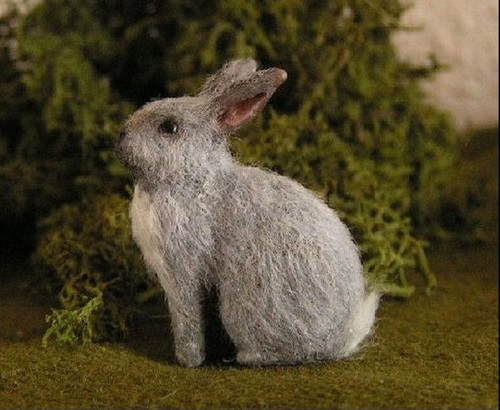Grey Rabbit. Miniature Wildlife sculpture by Anya Stone