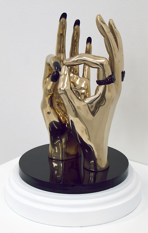Hand Job. 2007. Bronze, 24 ct Gold, Automotive Paint, Perspex. Sculpture by Kevin Francis Gray