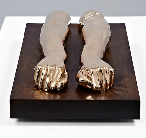 Heavy Arms. 2012. High Polished Bronze, Walnut. Sculpture by Kevin Francis Gray