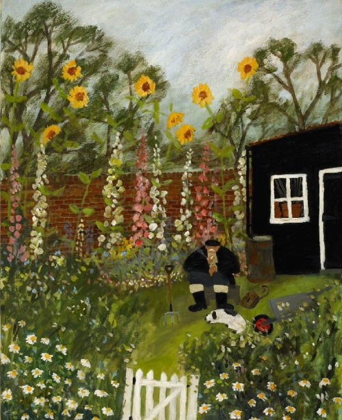 Hollyhocks. Naive Painting by contemporary British artist Gary Bunt