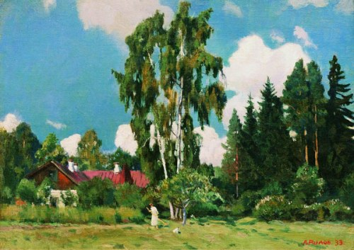 House with a red roof. Soviet/Russian artist Arkady Rylov