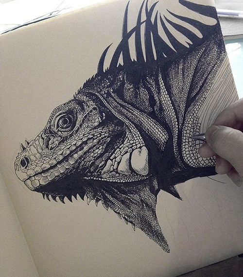 Iguana work in progress. Realistic ink pen Illustration by Chinese artist RLoN Wang