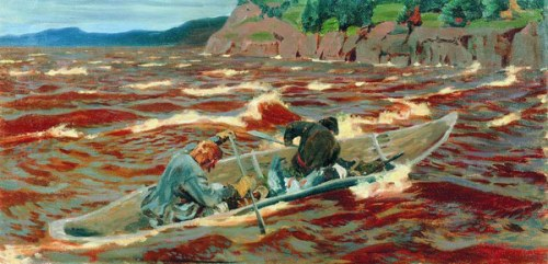 In a boat (brave people), 1914. Soviet/Russian artist Arkady Rylov