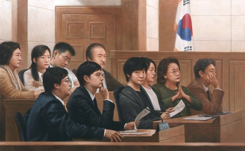 Inside the Courtroom. Painting based on a sketch JW-Jeong made during the actual trial at Seoul Central District Court