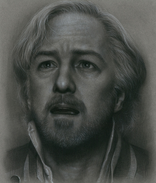 Jean Valjean. Charcoal & Colored Pencil on Paper. Painting by South Korean artist JW-Jeong
