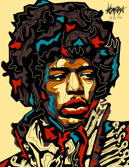 Jimi Hendrix. Pop Culture digital Illustration by Filipino artist Dri Ilustre