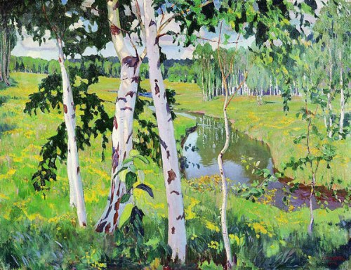 Landscape with river, 1913. Soviet/Russian artist Arkady Rylov