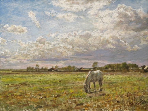 Landscape with white horse, 2008. Painting by Yuri Pantsyrev