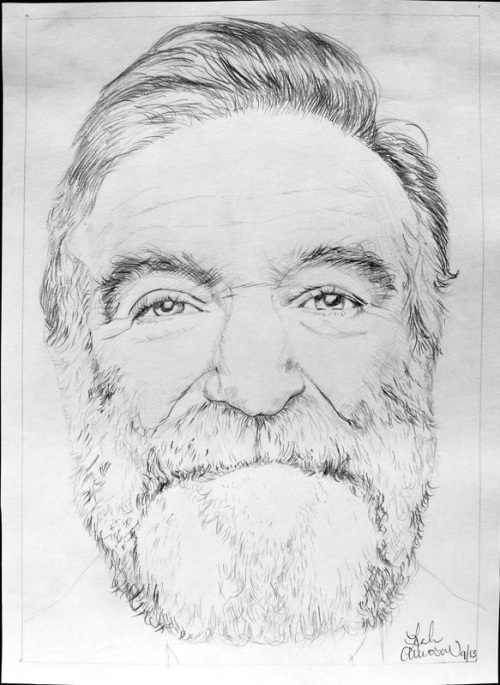 Robin Williams pencil drawings by Leah Amosow