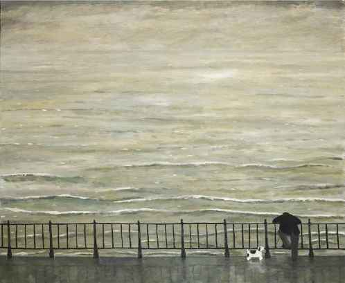 Lean on Me. Naive Painting by contemporary British artist Gary Bunt