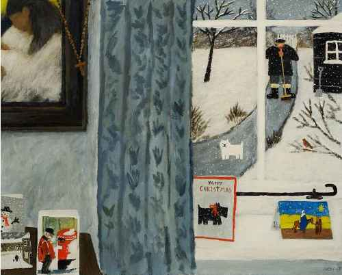 Let It Snow. Naive Painting by contemporary British artist Gary Bunt