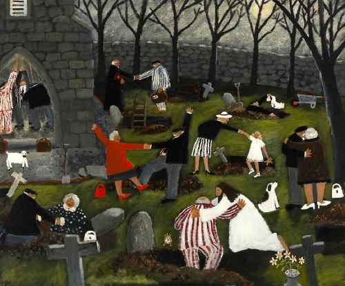Let There Be Light. Naive Painting by contemporary British artist Gary Bunt
