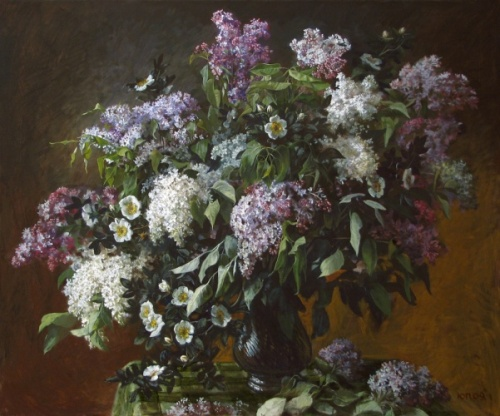 Lilac and rose, 2009. Painting by Yuri Pantsyrev