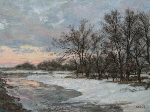March twilight. Painting by Yuri Pantsyrev