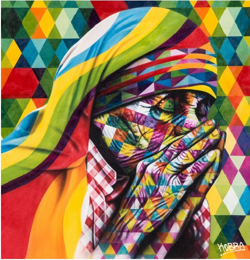 Mother Teresa. Street art by street artist Eduardo Kobra