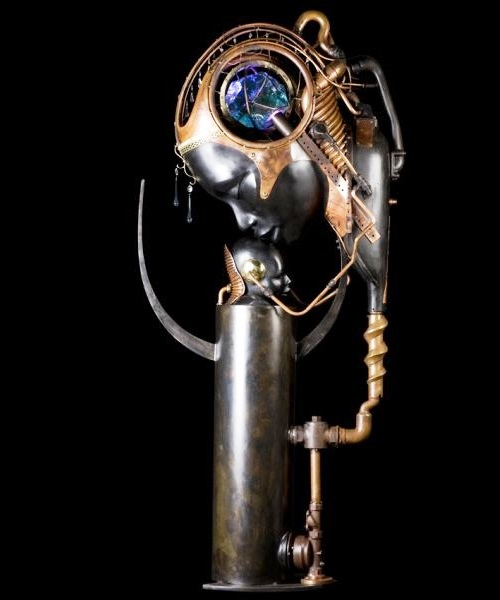 Mother and son. Steampunk Sculpture by Pierre Matter