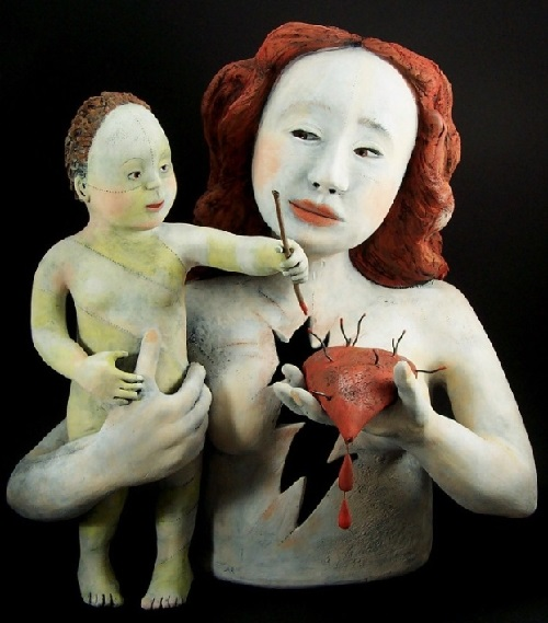 Motherhood. Clay Sculpture by American artist Victoria Sexton