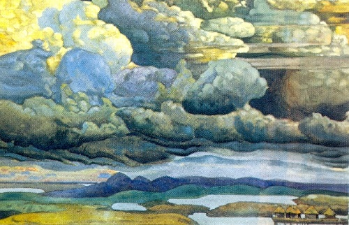 Nicholas Roerich. Heavenly Battle. Version of the 1909 picture. 1912. Tempera on cardboard. Russian museum, St. Petersburg