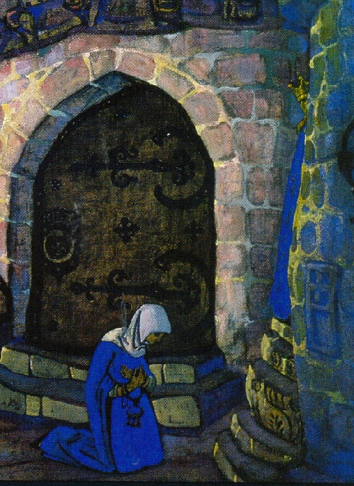 Russian painter Nicholas Roerich. In the Monastery. detail