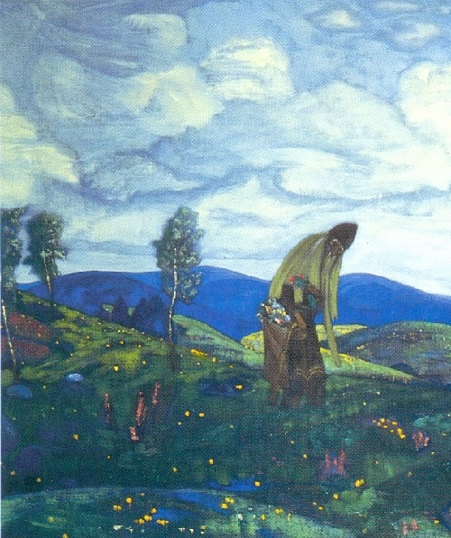 Russian painter Nicholas Roerich. St. Pantaleon the Healer. 1916 detail