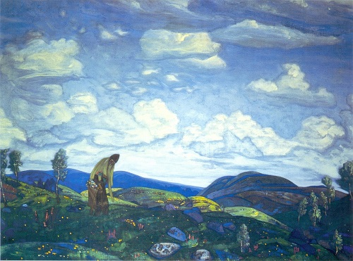 Russian painter Nicholas Roerich. St. Pantaleon the Healer. 1916. Tempera on canvas. Tretyakov Gallery, Moscow