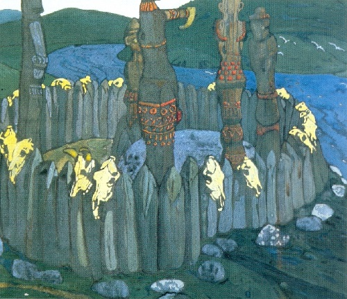 Russian painter Nicholas Roerich. The Idols. Sketch. 1901. Gouache on cardboard. Tretyakov Gallery, Moscow