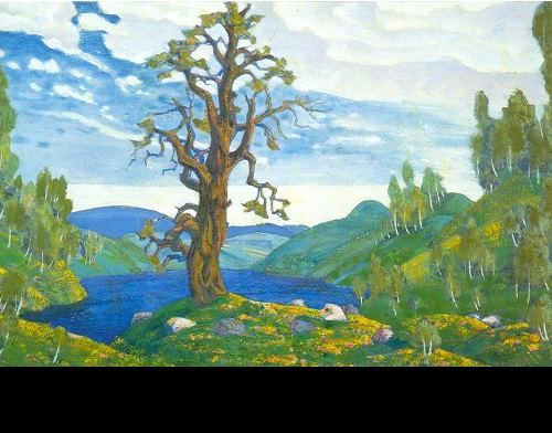 Russian painter Nicholas Roerich. The Kiss to Earth. Set design for Stravinsky's Le Sacre du Printemps (Diaghilev Company). 1912. Tempera on cardboard. Russian Museum, St. Petersburg