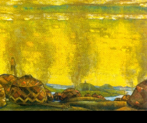 Russian painter Nicholas Roerich. The Polovtsy's camp. Set design for Act 2 of Borodin's Prince Igor (Diaghilev Company). 1908. Pastel, charcoal, and gouache on paper mounted on cardboard. Tretyakov Gallery, Moscow