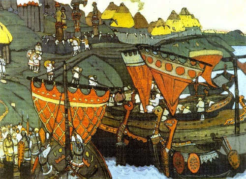 Russian painter Nicholas Roerich. The Slavs on the Dnieper. 1905. Tempera and pastel on cardboard. Russian Museum, St. Petersburg